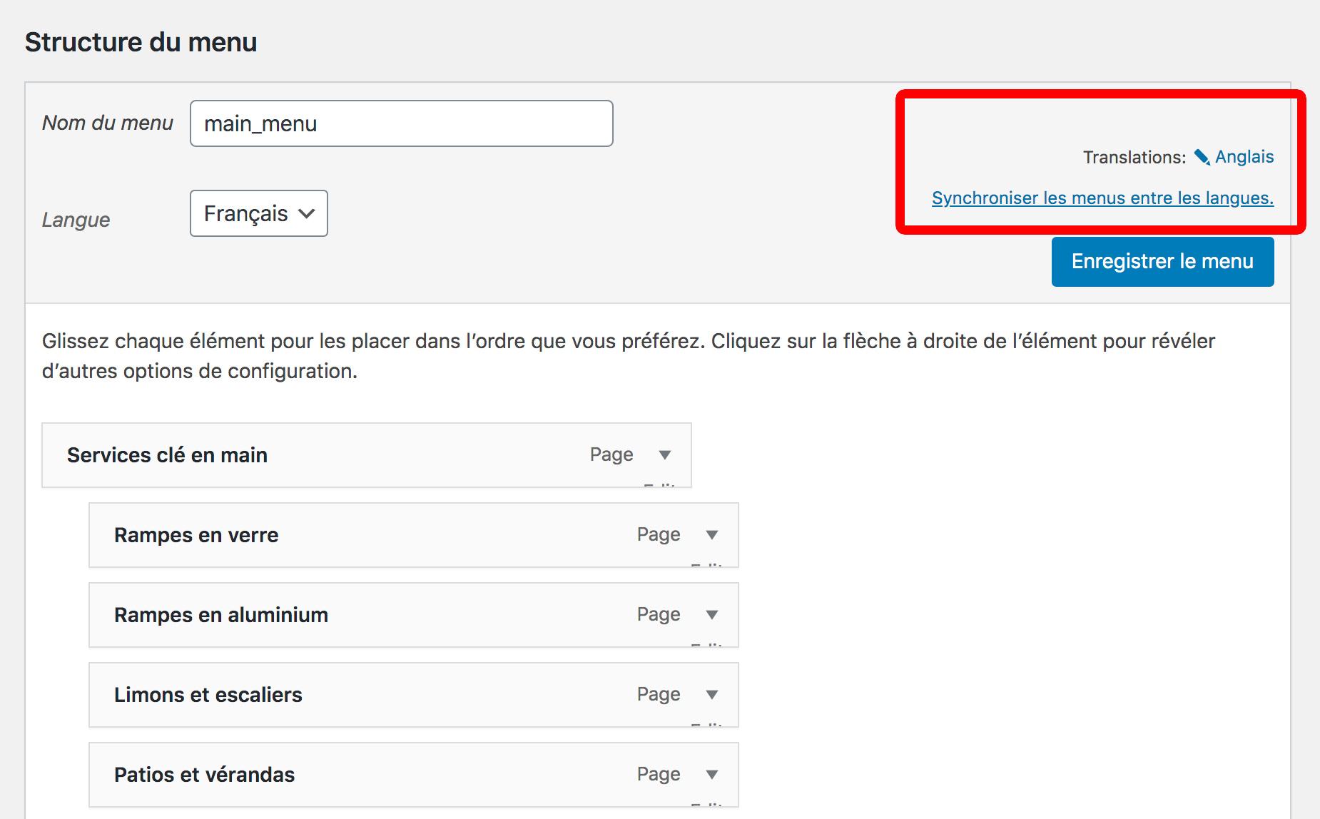 traduire menu WPML