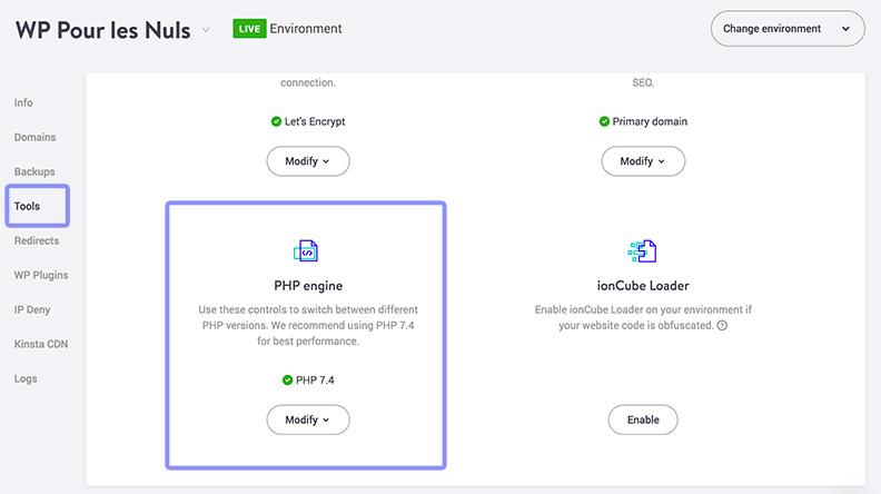 change php version web host