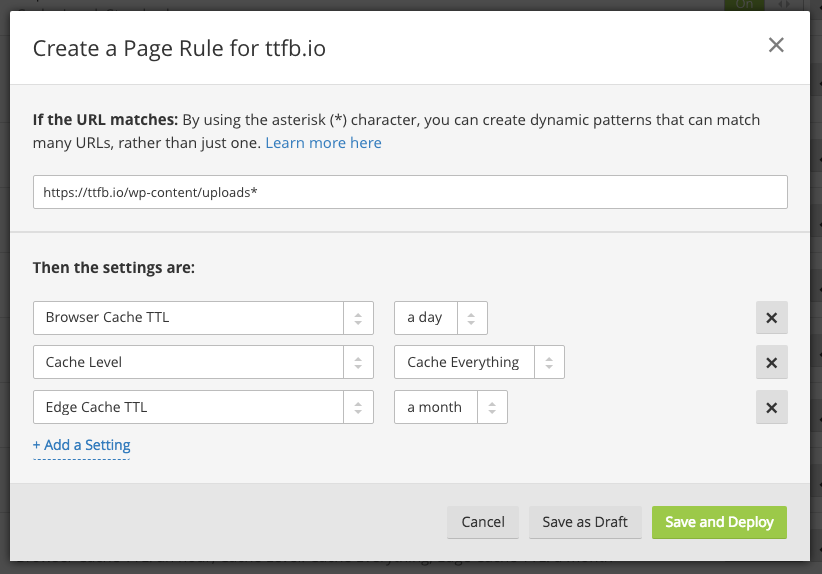 create a page rule