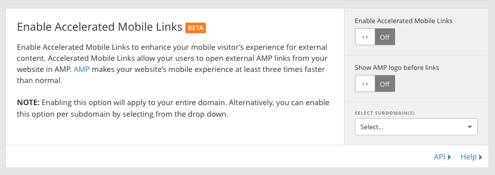 enable accelarated mobile links