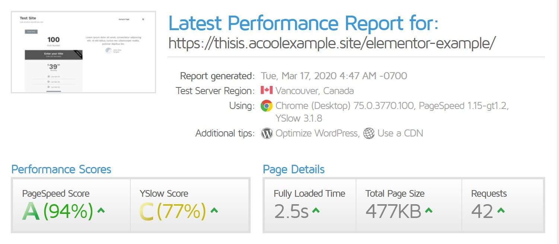 Performance d'un site Elementor