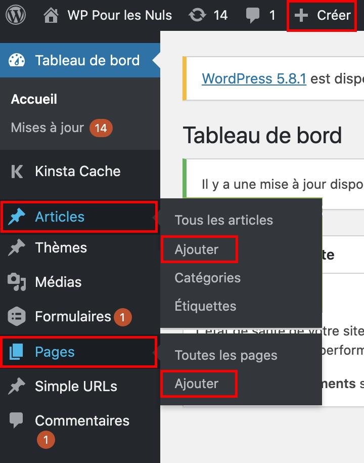 ajouter des pages ou articles WordPress