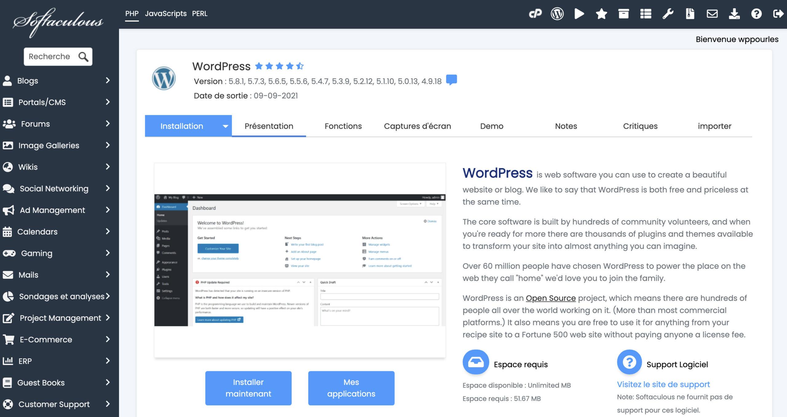 Softaculous WordPress - Accueil