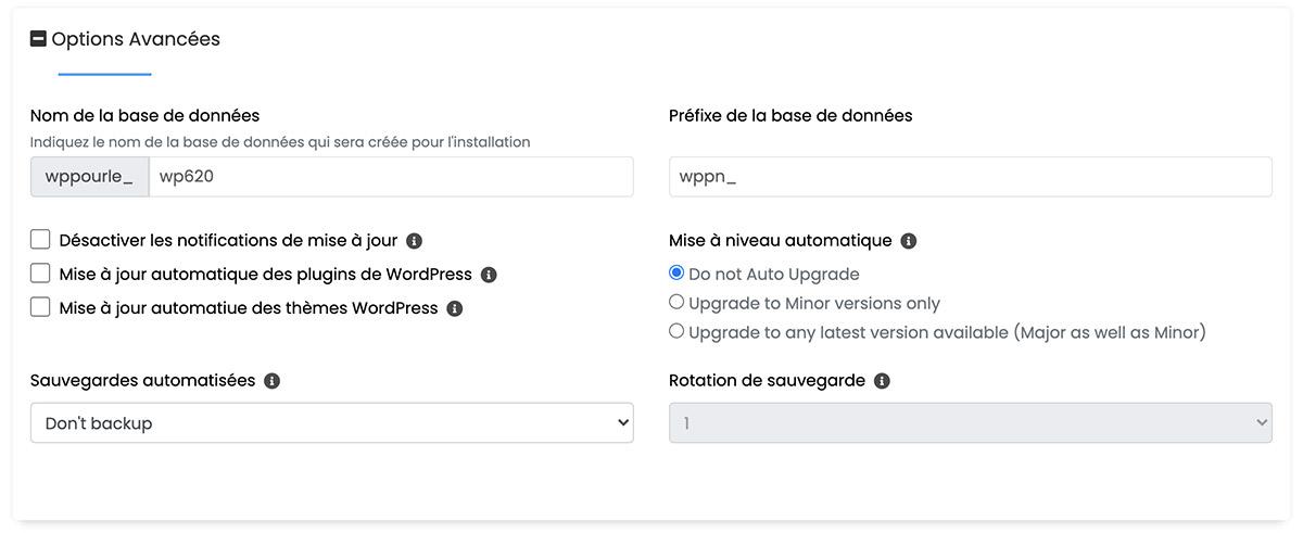 Softaculous WordPress - options avancées